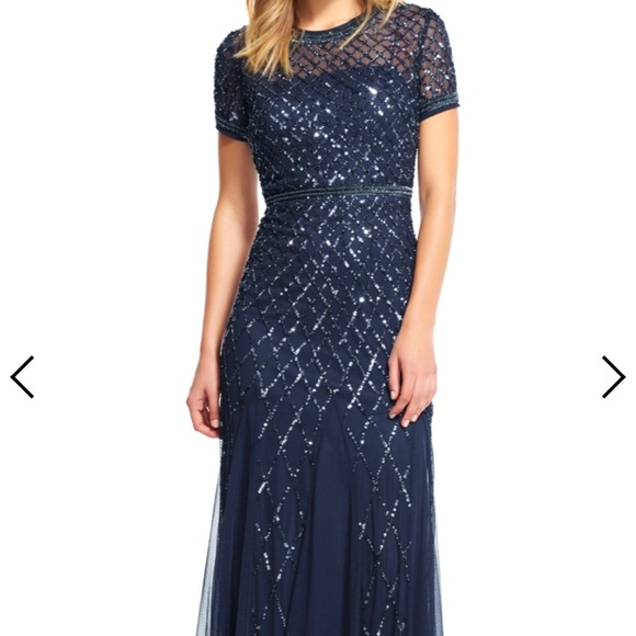 a9cfe4af Adrianna Papell Dresses | Cap Sleeve Fully Beaded Gown Navy | Poshmark